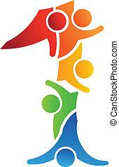 lavoro squadra, 1, numero, logotipo, concetto