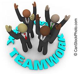 lavoro squadra, cerchio, -, membri, squadra