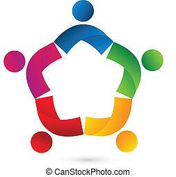 lavoro squadra, collaborazione, stella, logotipo