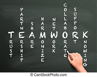 lavoro squadra, cruciverba, mano, concetto, scritto