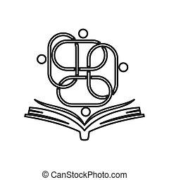 lavoro squadra, insieme, educazione, impegno, libro, contorno, logotipo