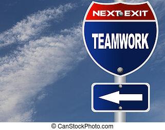 lavoro squadra, segno strada