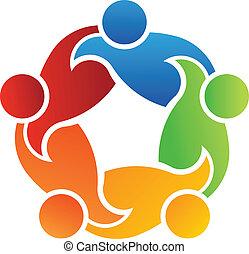 lavoro squadra, sostegno, 5, logotipo