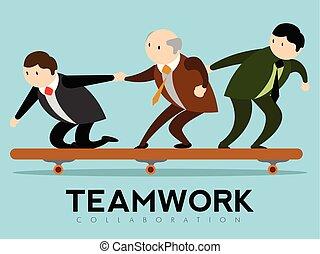 lavoro squadra, tavola., gruppo, uomini affari