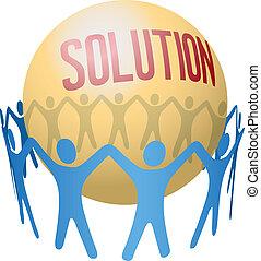 lavoro squadra, trovare, unire, soluzione, persone