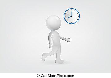 lavoro, tardi, vettore, disegno, logotipo, bianco, uomo, 3d