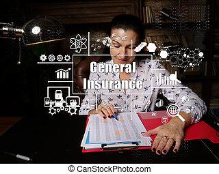 lavoro ufficio, generale, giovane, inscription., affari, scrivania, lettura, assicurazione, circa, donna d'affari, ufficio, fondo., concetto