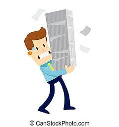 lavoro, uomo affari, portante, mucchio, carta