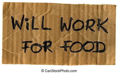 lavoro, volontà, segno, cartone, cibo