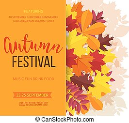leaves., vettore, fondo., bandiera, invito, autunno, illustrazione, festa caduta