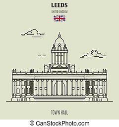 leeds, città, uk., punto di riferimento, salone, icona