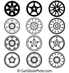 lega, automobilistico, ruota, ruote