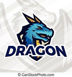 lega, mascot., sport, scudo, concept., football, scuola, drago, o, vettore, università, squadra, baseball, pezza, insegne