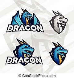lega, scuola, sport, illustrazione, segno, concept., football, draghi, bestia, mascotte, vettore, università, asiatico, squadra, logotipo, creativo, drago, insegne, design.