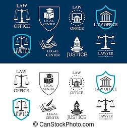 legale, icone ufficio, centro, legge, giustizia