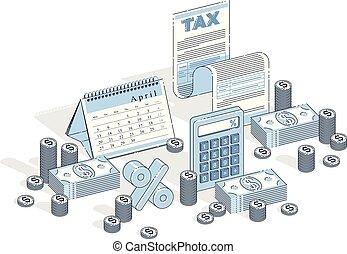 legale, magro, bianco, illustrazione, calendario, contanti, documento, 3d, vettore, isolato, design., concetto, isometrico, finanza affari, carta, linea, tassa, accatastare, fondo., o, forma, soldi, tassazione