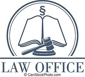 legale, ufficio, vettore, codice, martelletto, legge, icona