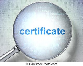 legge, certificato, vetro, concept:, ottico