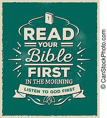 leggere, bibbia, tuo, morning., primo