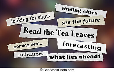 leggere, foglie tè, illustrazione, giornale, titoli, 3d