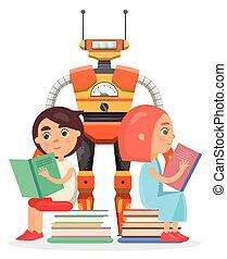 leggere, grande, robot, ragazza, ragazzo, illustrazione