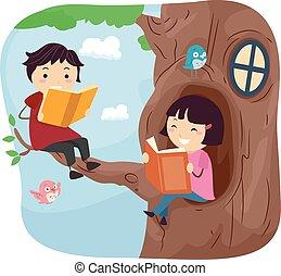 leggere, stickman, bambini, casa albero