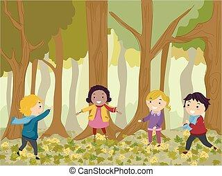 legnhe, gioco, bambini, stickman, illustrazione