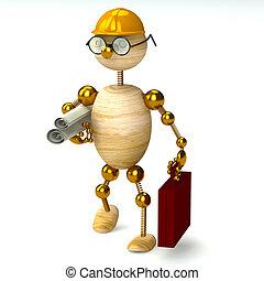 legno, 3d, uomo, ingegnere