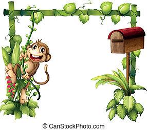 legno, accanto, scimmia, oscillazione, cassetta postale