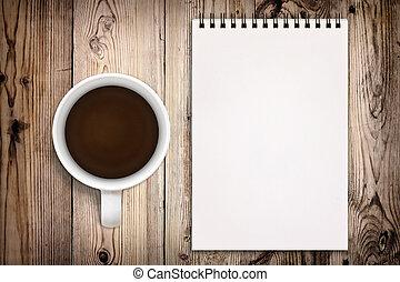 legno, album per schizzi, caffè, fondo, tazza