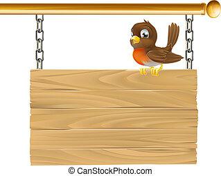 legno, appendere, uccello, segno