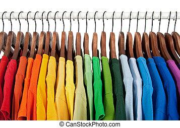 legno, arcobaleno, copre ganci, colori