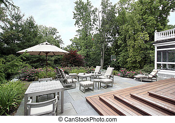 legno, ardesia, scale, patio