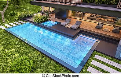 legno, asse, sera, casa, interpretazione, moderno, facciata, 3d