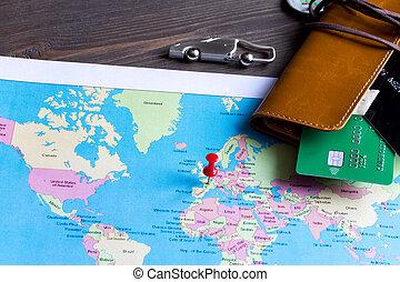 legno, assicurazione, fondo, viaggiare, prenotazione, concetto
