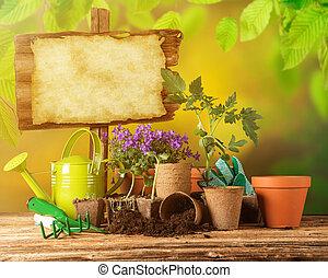 legno, attrezzi, fiori, giardinaggio, fondo