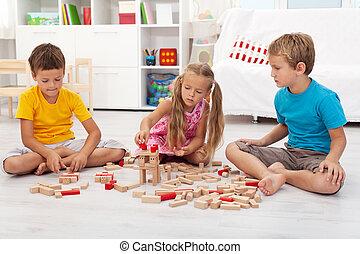 legno, bambini, blocchi, tre, gioco