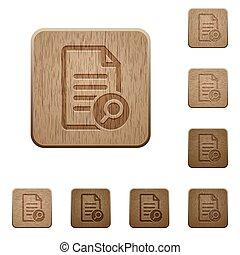 legno, bottoni, ricerca, documento