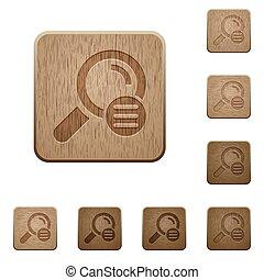 legno, bottoni, ricerca, opzioni