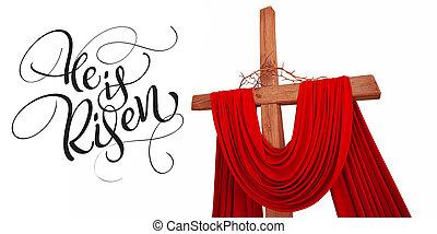 legno, calligrafia, croce, testo, spine, cristiano, risen., lui, iscrizione, corona