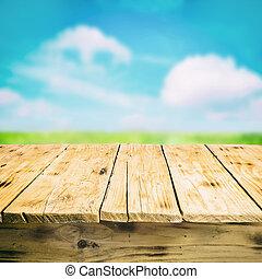 legno, campagna, vuoto, fuori, tavola