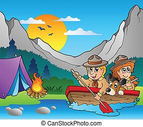 legno, campeggiare, barca, esploratori