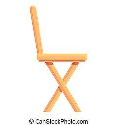 legno, cartone animato, icona, esterno, vector., mobilia, casa, sedia