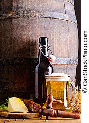 legno, cibo, barile birra
