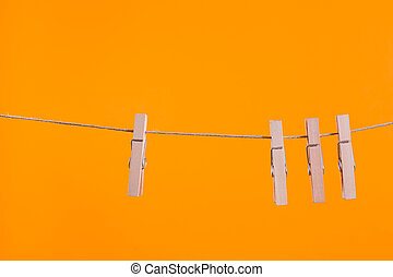 legno, clothesline, appendere, corda, clothespins