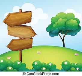 legno, collina, freccia, signage