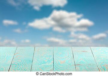 legno, colorare, fondale, vuoto, priorità bassa vaga, blu, sky.