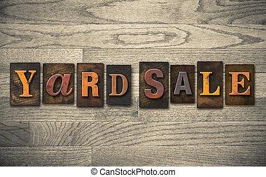 legno, concetto, vendita iarda, letterpress
