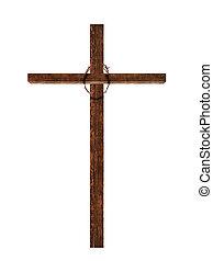 legno, corona, croce, isolato, spine, bianco