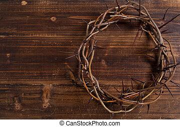 legno, -, corona, fondo, spine, pasqua